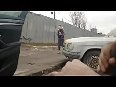 Flasher cums as she walks past.flv