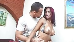Cute tranny with nice tits gets her asshole stretched and titties fucked by cock
