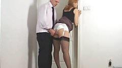 Rubbing his coworkers panties