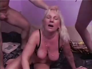 Blonde Granny Get Fucked by 2 Guys