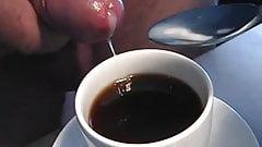 sperm coffee cookie glass uncut cock foreskin masturbation
