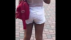 Sexy Brown Girl White Jean Shorts