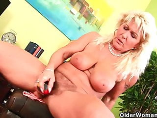 Grandma with heavy breasts and all natural hairy cunt