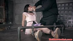 Young restrained sub cunt toyed til dripping