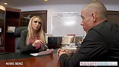 Stockinged office babe Nikki B
