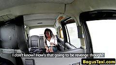 Ebony taxi babe jizzed on face on backseat