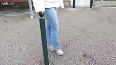 Fashionable jeans, with coat and high heel ankle boots