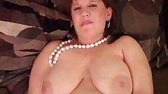 Chubby big tits amateur in stockings has a fat wet pussy