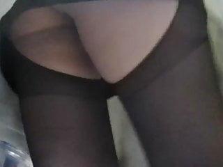 Crotchless pantyhose upskirt without panties