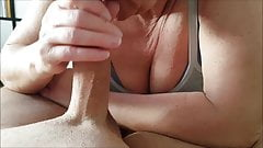 Wife blows shaved cock and swallows cum