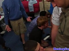 Hetero twinks sucking cock at frat pledging