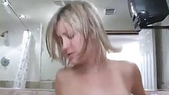 Blond Wife Gives Hot Head Then Rides It With Shaven Twat