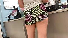 Multi-Colored Spandex Shorts Candid Butt
