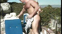 Blonde Babe banged outdoor