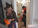 Busty stepmommy doggystyled in a costume
