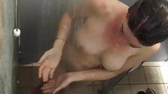 Camping shower big tirs mom 2