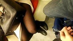 Voyeur Bitch In Black Pantyhose Shows Off Her Delicious Legs