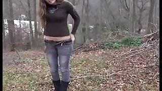Brunette forest piss.mp4