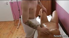 German Mother Seduce Step-Son to Fuck at Massage