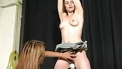 Mistress binds slave and massages clit