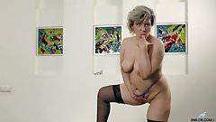 Russian granny masturbates