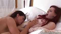Young lesbian tgirl cums while rimmed by MILF