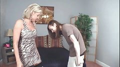 Blond stepmom in stockings seduces her nerd stepson