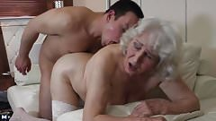 Granny with hairy cunt having