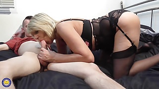 Mature British mom lick suck and fuck son