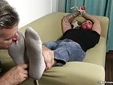 Foot fetishist mature deviant ties up hunk and slobbers toes