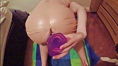 Nude PVC latex skirt dildo fuck big ass