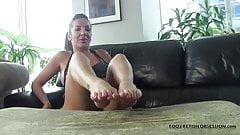 I love teasing your hard cock with my soft feet