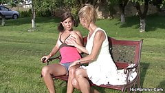Pigtailed teen fucking old mom's cunt outdoor