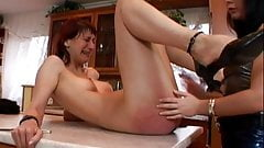 Leather pants mistress humiliates and spanks her slave