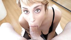 Sexy big tit blonde Maxim Law POV deepthroat blowjob