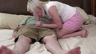 Oldman and blonde teen