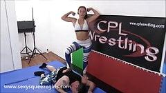 Spandex Headscissor KO - Female vs Male Wrestling