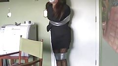 Taped up cutie tries to stand and hop