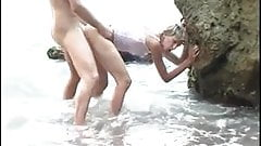 French milf gets anal fucked on the beach