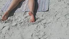 Candid Fat Ass on the beach cute feet
