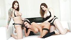 Rough lesbian anal double penetration