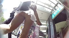 Upskirt on a dream babe - thong and white skirt