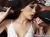 Lascivious ladyboy spitroasted by BBC in wild threesome