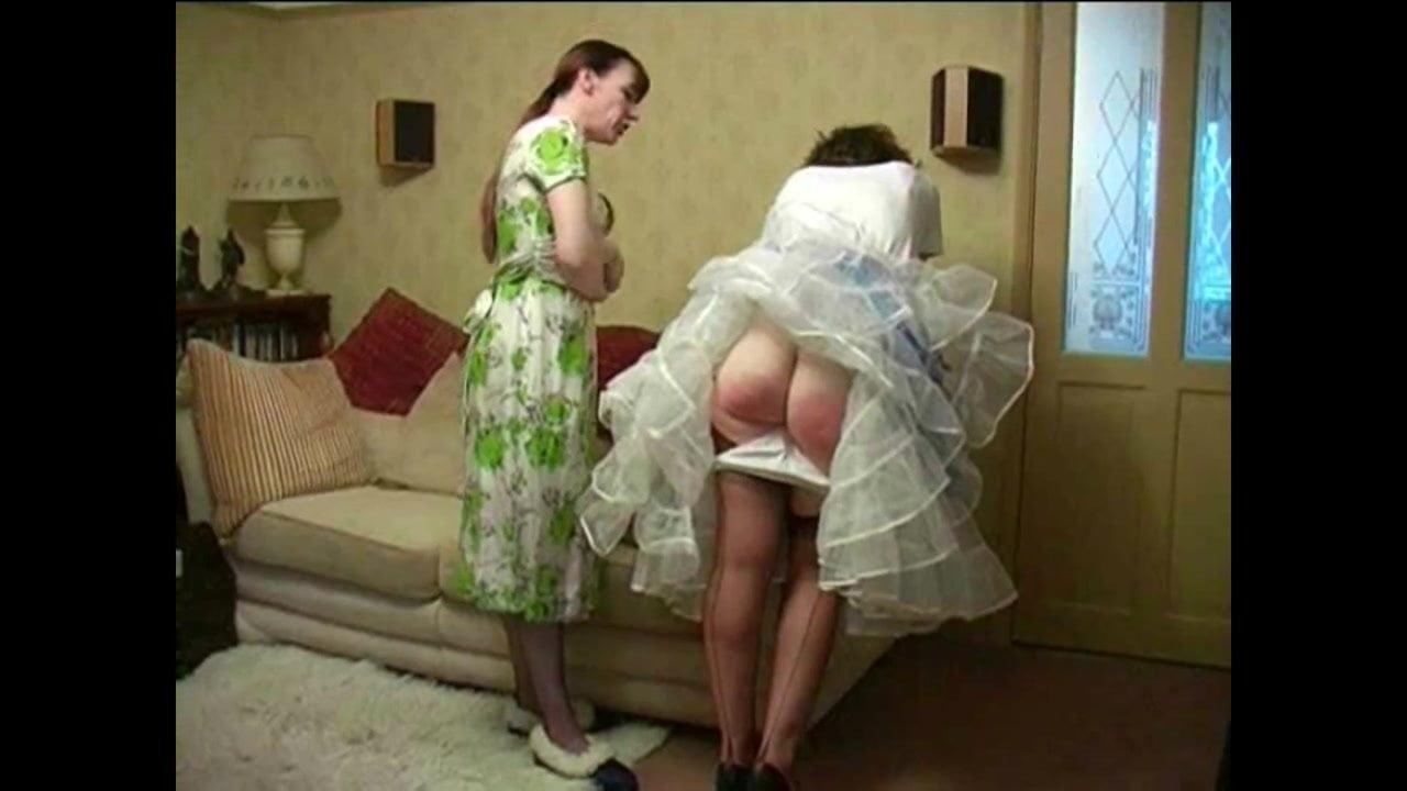 Spanked over petticoat