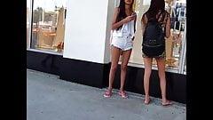 candid voyeur thin hottie in tight leopard print dress
