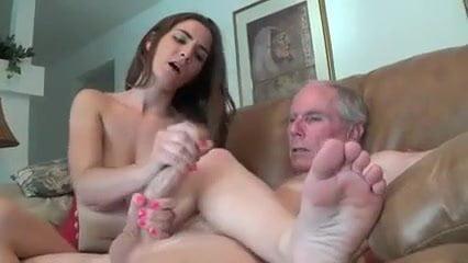 Young girl makes handjob to old man