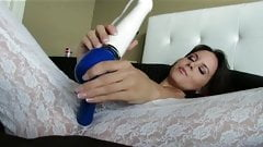 beatiful woman in lingere masturbates - hitachi magic wand