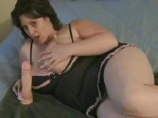 bbw use a big dildo