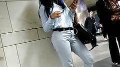 Beautiful Arab girl waiting for the train