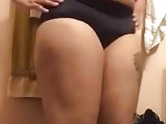 Ebony in satin panties